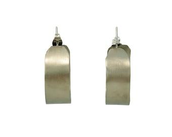 Silver small wide matte hoops, thick earrings, stud hoops, gold hoops, or sterling silver hoop, plain hoops, minimal jewelry, custom jewelry
