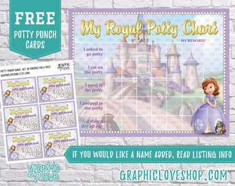 Printable Sofia the First Royal Potty Training Chart, FREE Punch Cards | High Resolution JPG File, Instant Download