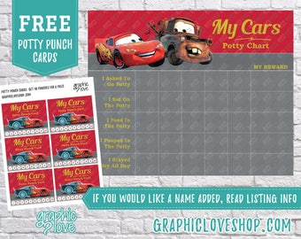 Printable Lightning McQueen Cars Potty Chart, FREE Punch Cards | Disney Pixar | Digital JPG File, Instant download, Files are NOT Editable