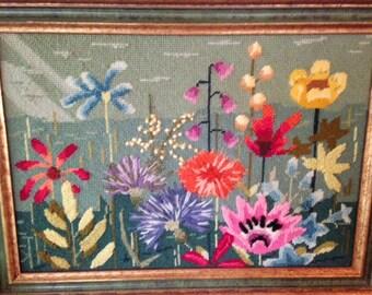 FLOWER NEEDLEPOINT Framed Picture, Vibrant Wildflower Cross Stitch Fiber Art, Needlepoint Flower Art, Flower Garden Art