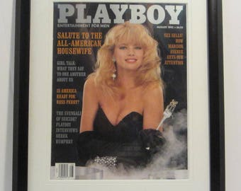 Vintage Playboy Magazine Cover Matted Framed : August 1992 - Margie Murphy