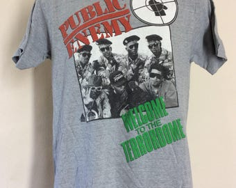 Vtg 1990 Public Enemy Welcome To The Terrordome T-Shirt Gray M/L 90s Hip Hop Rap Fear Of A Black Planet