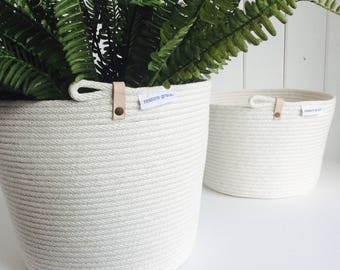 Leather Detail Rope Plant Pot // Stitched rope Pot // Pot Plant // Natural // Gift // Homewares // Indoor Plant // Leather //  Organic // Ro