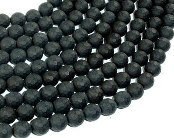 Matte Black Onyx Beads, 8mm Faceted Round, 15 Inch, Full strand, Approx 47 beads, Hole 1 mm, AA quality (140025013)
