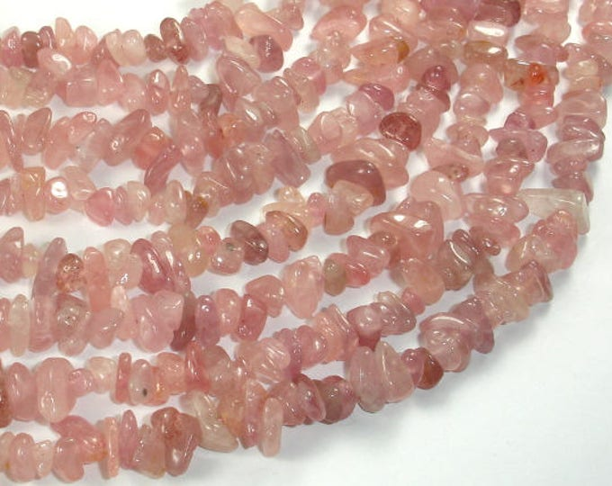 Madagascar Rose Quartz Beads, Approx 4mm-10mm Pebble Chips Beads, 16 Inch, Full strand, Hole 0.8mm (391005002)