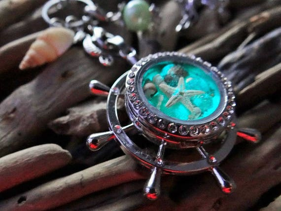 Glow In The Dark Captains Wheel Mermaid Locket Necklace GREEN PEARL Seashell Seashells Starfish Mermaid Egg Pearl Bubbles Ariel The Little