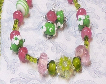 Lime green and pink lampwork, Necklace and earrings set, clip on or pierced fittings