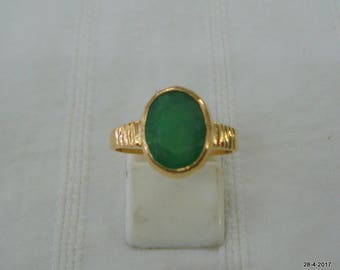 vintage 18kt gold ring emerald gemstone ring handmade gold jewelry