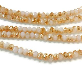 100 3x4mm two tone gold faceted glass beads, Suncatcher Beads, Spacer Bead, rondelle beads, R36