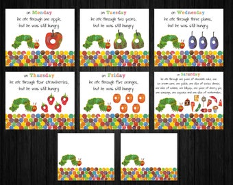 Hungry Caterpillar Food Cards ONLY, Hungry Caterpillar Birthday, Hungry Caterpillar Thank You, Hungry Caterpillar Party Supplies