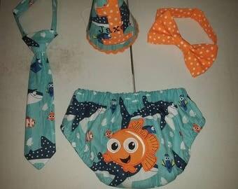 Nemo cake smash outfit, finding Nemo, fish