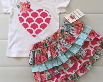 Size 1 , Ruffle Skirt Set, Girls Skirt, Girls Ruffle Skirt, Roses, Summer Roses, Aqua