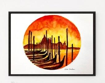 Italy Print, Venice Painting, Italy art, Art Print, Printable art, City art, Italy poster, Venice poster, Poster Print, Watercolor print