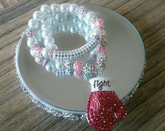 Breast Cancer Awareness Bracelet Set (Fight 5)