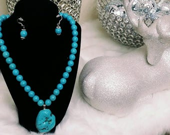 Turquoise Howlite Ladies Statement Necklace Set, boho chic, gifts for her, anniversary gift's, birthday gifts, wedding's