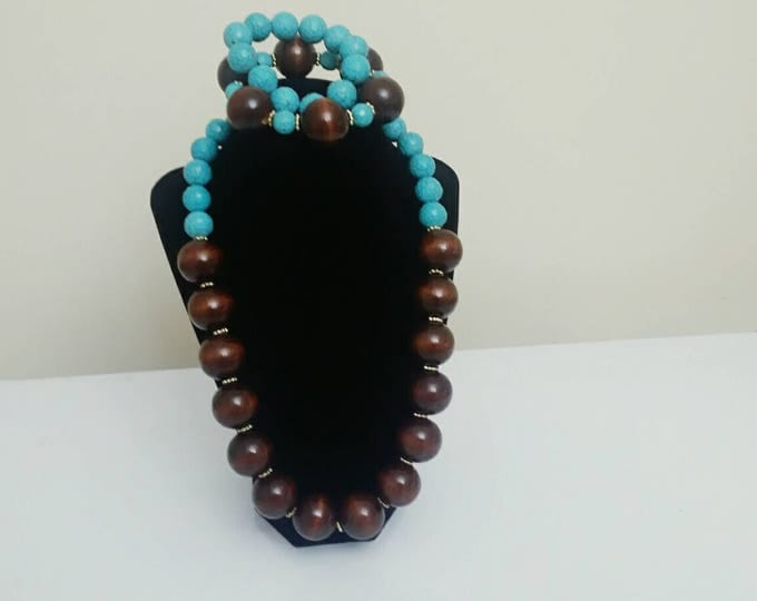 Chunky Beaded Turquoise and Wood Necklace Set
