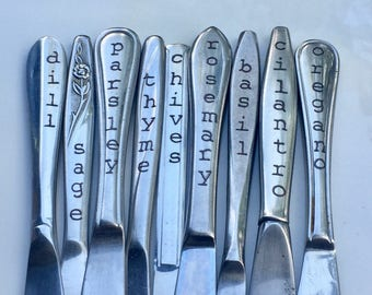 Culinary Garden, Herb Markers, Set of 9, Made from Repurposed Silverware