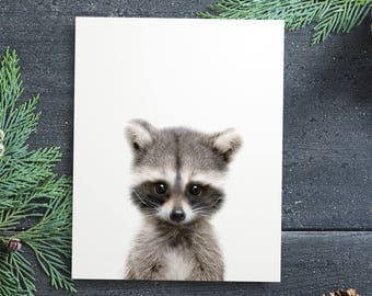 Raccoon print, Woodland animals, PRINTABLE decor, Forest animal, Animal art, Baby animals, Nursery decor DIY, Woodland baby shower, Kids art