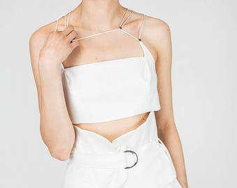 Luisa White Crop Top with String Stripes by Other Theory, 17SS080