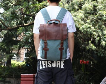 Waxed Canvas Backpack Mens Rucksack Leather,Canvas Diaper Backpack, Laptop Backpack, Waxed Canvas Tote,Laptop Backpack bag,Shoulder Bag