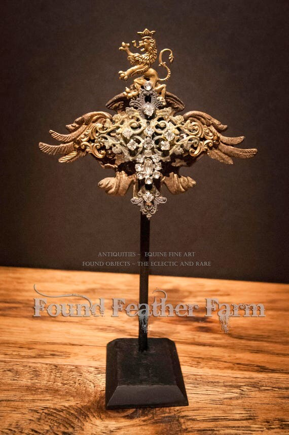 Magnificent Handmade One of a Kind Jeweled Detail on an Iron Stand