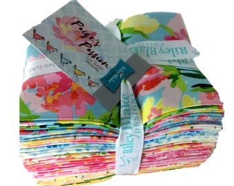 "Riley Blake Fabrics ""Paige's Passion""-by Lila Tueller -18 piece fat quarter bundle, print fabric, modern floral fabrics."