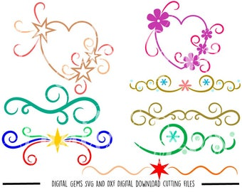 Hearts And Flourishes svg / dxf / eps / png files. Digital download. Compatible with Cricut and Silhouette machines. Small commercial use ok