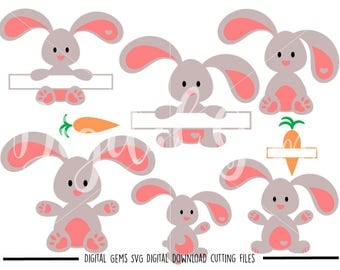 Bunny rabbits, Easter svg / dxf / eps / png files. Digital download. Compatible with Cricut and Silhouette machines. Small commercial use ok