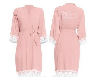 10% DISCOUNT Personalised Peach Lace Bride Robe, Brides Robe, wedding robe, Bridal Party, Wedding Dressing Gown, Cotton Bridesmaid Robe