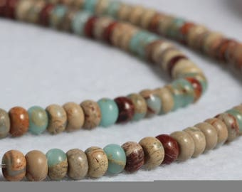 6mm rondelle faceted ocean jasper beads,1 strand approx 38 cm ( approx 15 inch- approx 90 Pcs)