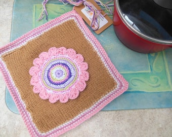 Pot Holder Square Knitted Pot Holder, Crochet Flower Pot Holder, Double Thickness, Wool Pot Holders, Beige, Pink and White Kitchen Accessory