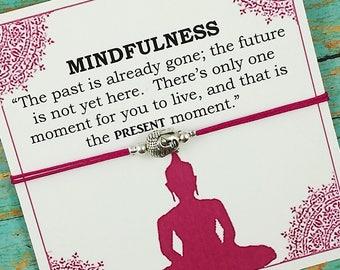 Buddha Bracelet, Mindfulness Bracelet, Buddha Charm, Yoga Bracelet, Gift for Her, Gift for Him, Meditation Gift