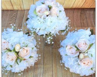 Blush pink bouquet, wedding bouquet, wedding flowers, vintage, shabby chic.
