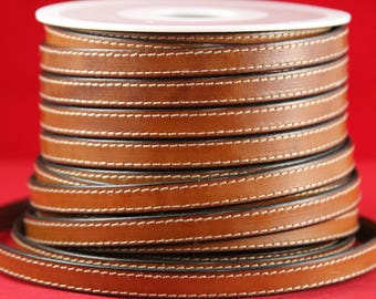 """MADE IN SPAIN 24"""" flat stitched leather cord, brown 10mm flat leather cord, 10mm stitched leather cord (240/10/33)"""
