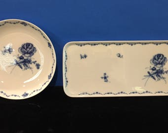 "Fursten Berg ""Lottine"" Bowl & Serving Tray Blue and White"