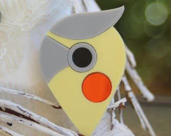 Cockatiel Parrot Bird Acrylic Brooch - handmade abstract laser cut plastic pin