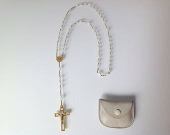 vintage french rosary, mother of pearl beads
