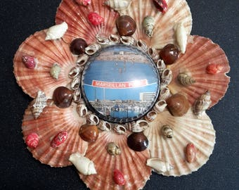 "French sea shells wall decor ""Marseillan"", french retro plaque"