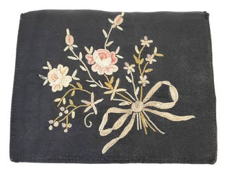 vintage french embroidered purse