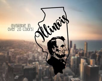 Illinois Decal, State Car Decals, Decals for YETI, Weatherproof Decals, Vinyl Decals for Car, Illinois State Decals, The Lincoln State Decal