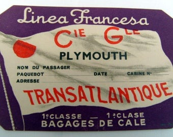 Vintage trunk label