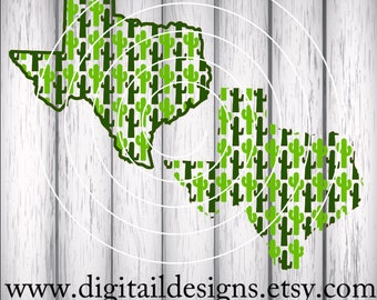 Texas State Cactus SVG - png - eps - fcm - ai - dxf - Cut File - Texas SVG - Silhouette - Cricut - Scan N Cut - Cactus SVG - Commercial Use