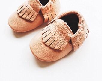 Blush pink baby moccasins