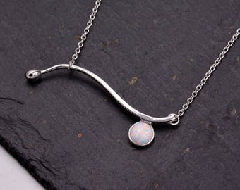 Sterling Silver Wave Design Pendant Necklace with Silver Plated  White Opal 18 - 20'' Bridesmaid Jewellery