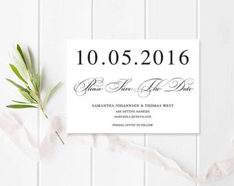 Black and White Wedding Save the Date, Printable or Professionally Printed, Traditional Calligraphy, Free Colour Changes, Peach Perfect