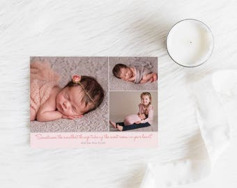 Printable Birth Announcement Card, Baby Girl, Thank You Card, Photo Announcement, Free Colour Changes, Pink and Grey