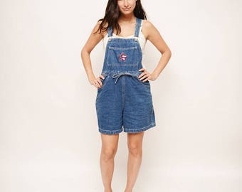 90s Vintage Overalls - Overall Shorts, Denim, American Flag, Summer