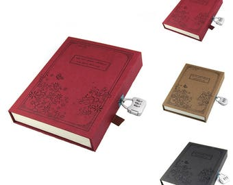 Vintage Diary Notebook Journal Notepad Hard Cover With Code Lock Gift Box Black/Red/Brown
