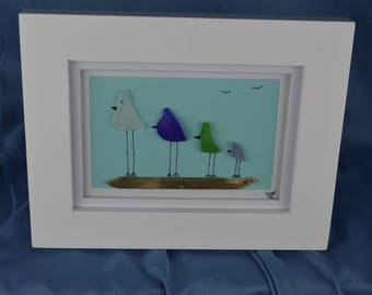 Bird scene seaglass art, 9in x 7in framed color seaglass, coastal decor, 4 birds
