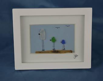 Seaglass bird scene, seaglass art, 4in x 5in framed color seaglass, coastal decor, 3 birds